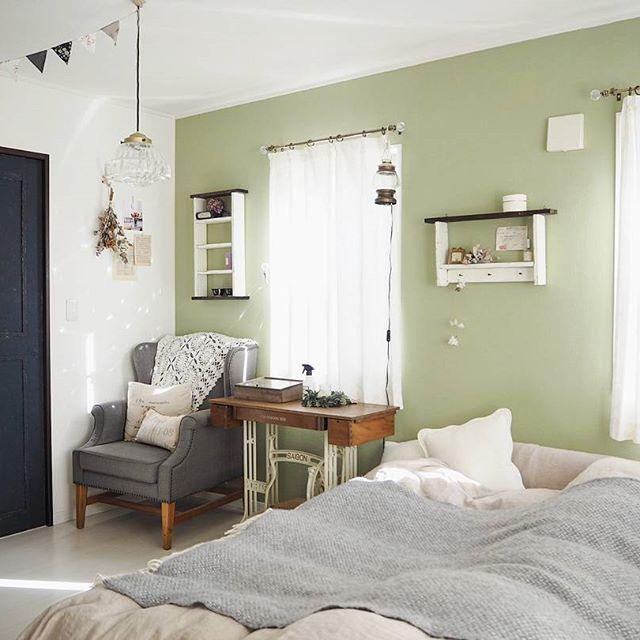 寝室インテリア 淡いグリーン