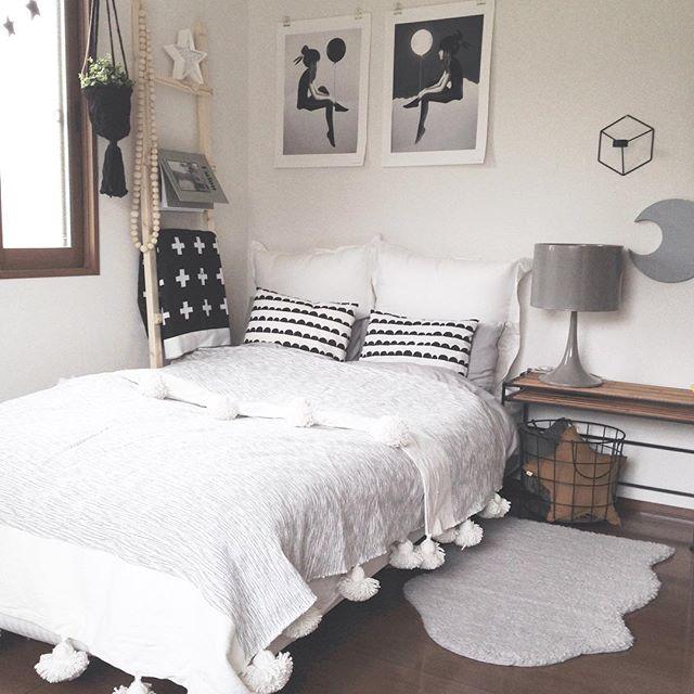 寝室インテリア モノトーンインテリア