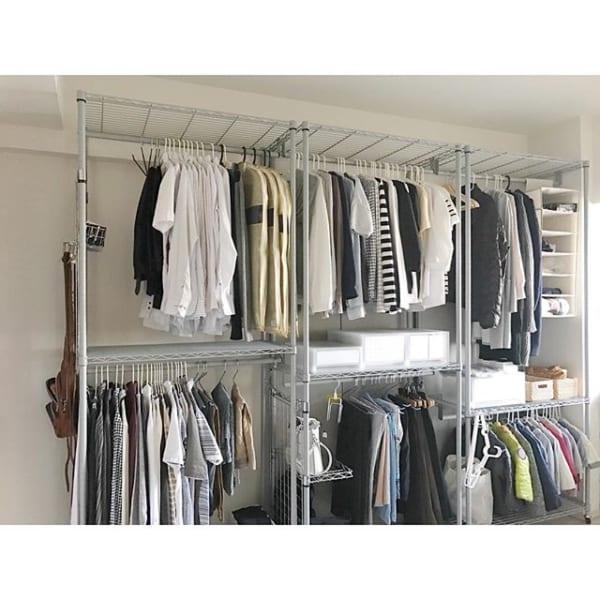 洋服のスチールラック収納(大人)