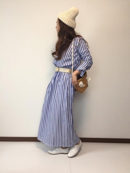 【ロングヘア】ニット帽のおしゃれな春コーデ①ワンピース