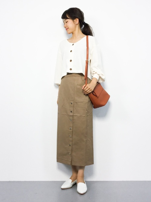 [WHO'S WHO gallery] ドットボタンマキシタイトスカート