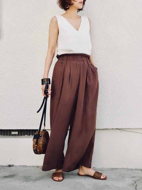 [MOUSSY] WAIST TUCK WIDE PANTS