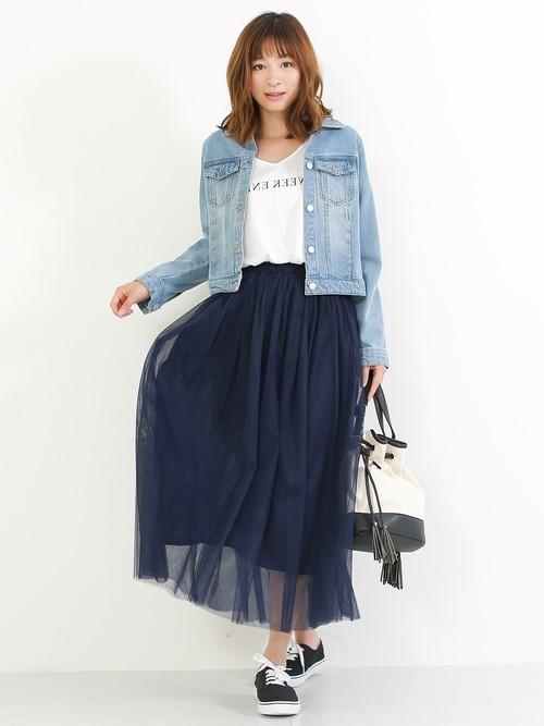 [Social GIRL] チュールフレアボリュームロングスカート
