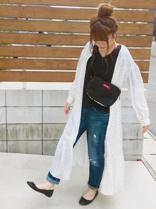 ユニクロ 靴 バレエシューズ ドット柄コーデ2