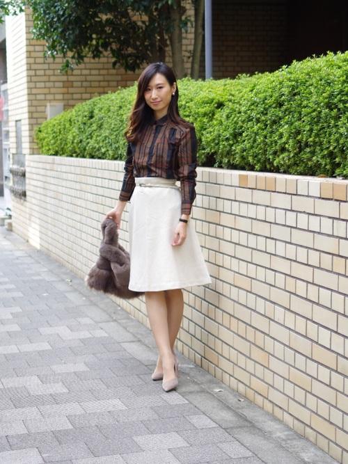 [NARACAMICIE] 【セットアップスーツ対応】バーズアイフレアスカート