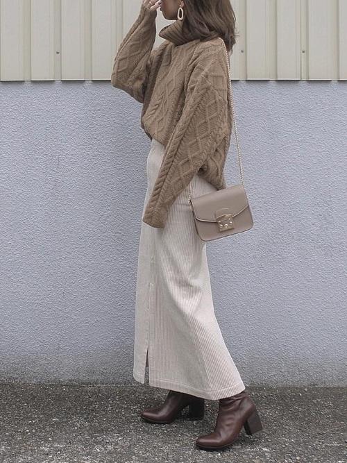 [IENA] 太コールロングスカート◆
