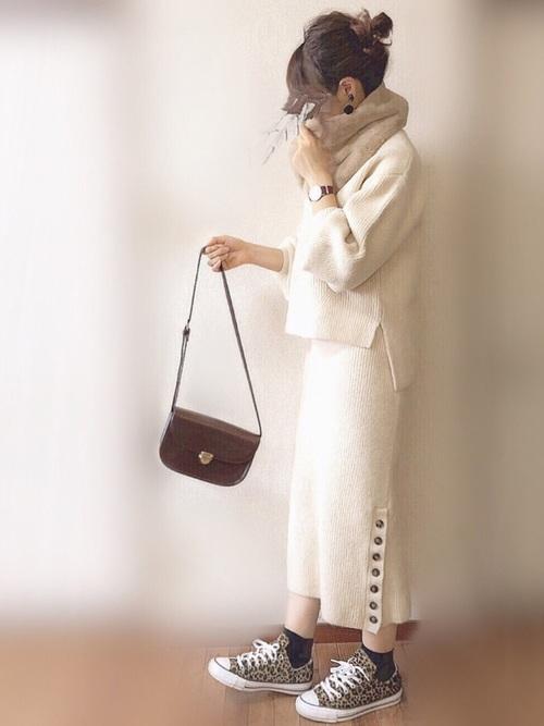 [natural couture] もちもちサイド釦スカート
