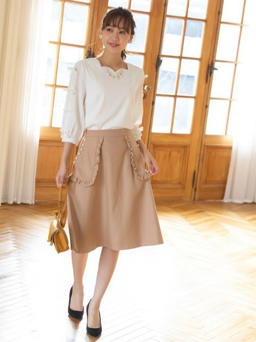 [tocco closet] パール付きフリルポケットフレアスカート