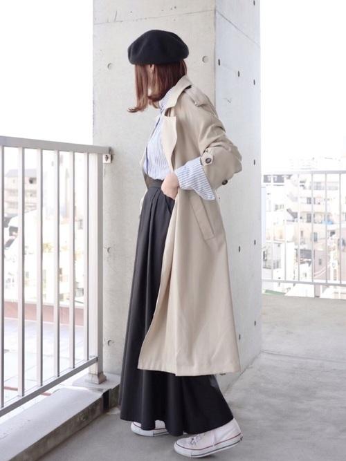 [coca] ウエストツータック入りフレアロングスカート