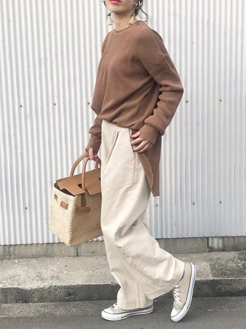 【ワイドパンツ】で作るきれいめシンプルファッション