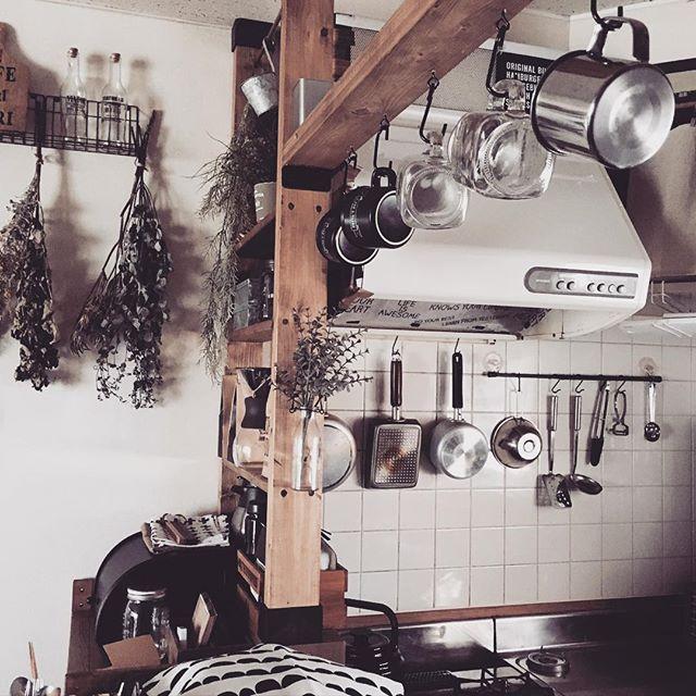 フック収納アイデア マグカップ キッチンツール