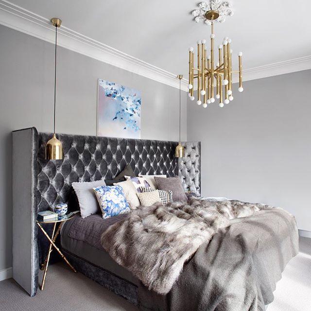 寝室 ゴールド 海外インテリア ベッドヘッド