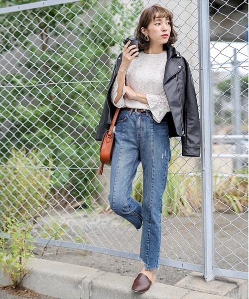 [select MOCA] 【GISELe12月号掲載】ダブルカラーボタンジッパー付き柔らかフェイクレザー長袖ライダースジャケット