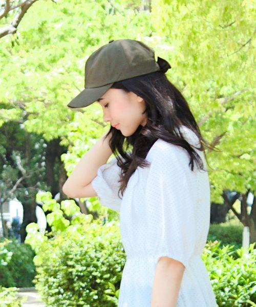 [14+(ICHIYON PLUS)] デニムリボンCAP 14+オリジナル バックリボン キャップ レディース 帽子 BIG