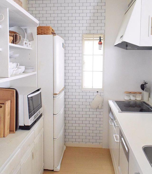 冷蔵庫周りのインテリア ホワイトインテリア