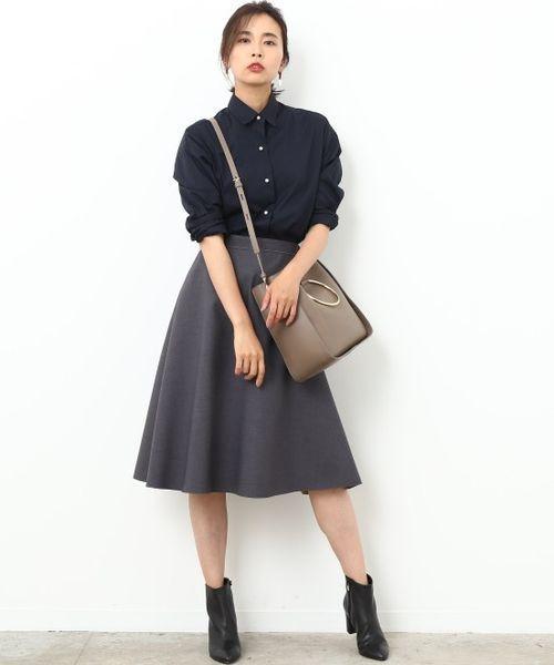 [ROPE'] 【Oggi10月号掲載】カフス刺繍入りパールボタンシャツ