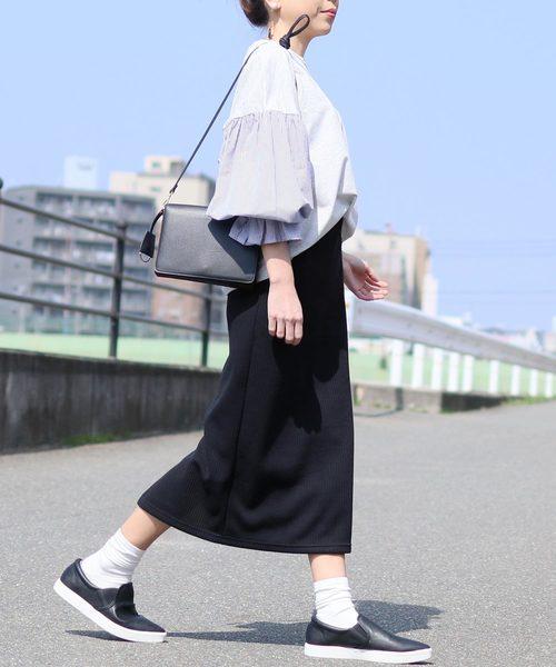リブニット ウエストゴムタイトスカート