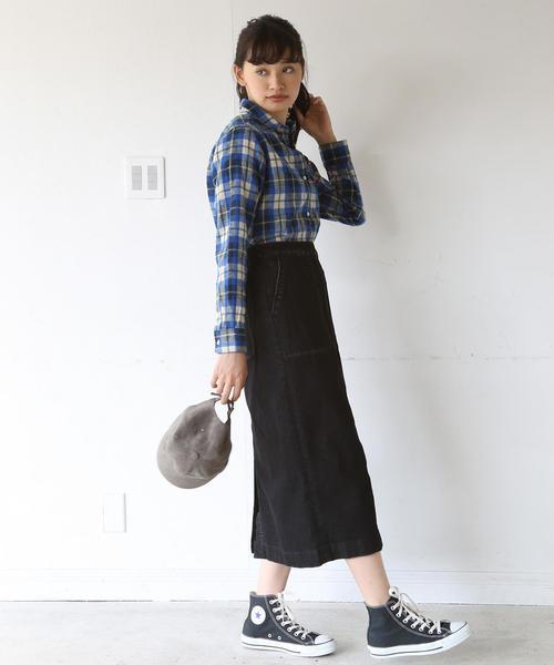 [coen] 【大人気・新色追加】デニムストレッチタイトロングスカート