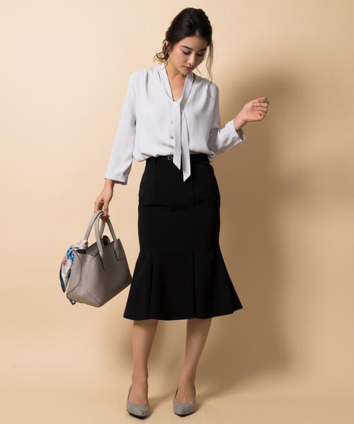 [TONAL] 【CLASSY./Oggi4月号掲載】【小泉里子さん着用】(洗える/シワになりにくい/ストレッチ機能/セットアップ/日本製)ストレッチツイルマーメイドスカート