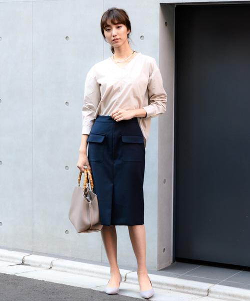 [TONAL] 【CLASSY.4月号掲載】【小泉里子さん着用】(洗える/シワになりにくい/ストレッチ機能)フラップポケットタイトスカート