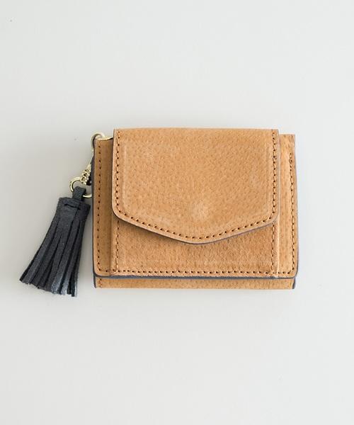 [haco!] Legato Largo ピッグスエード 三つ折りミニ財布