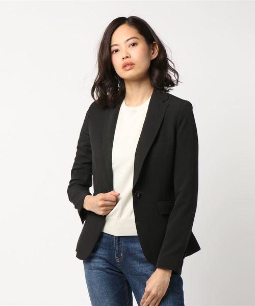 [TAKA-Q] エムエフエディトリアルレディース/m.f.editorial:Women シャドーストライプ2WAYストレッチウォッシャブルセットアップジャケット ・黒(セットップパンツ・スカートあります)