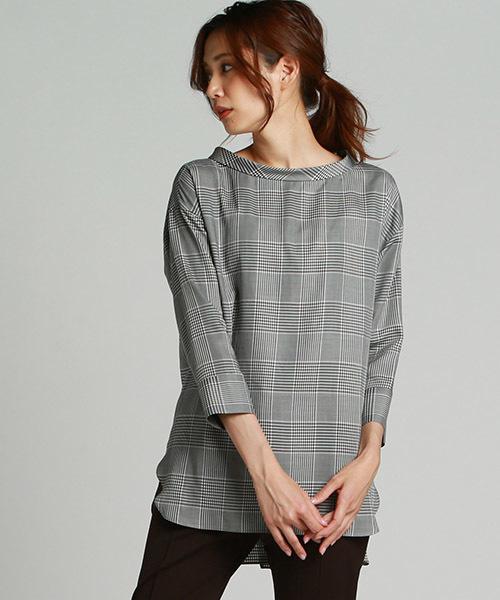 [LAUTREAMONT ONLINE SHOP] 【キュプラの素材の接触冷感】クラシカルなスタンドネックプルオーバーチェックシャツ