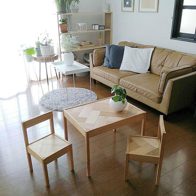 家具DIY IKEA キッズテーブル ヘリンボーン