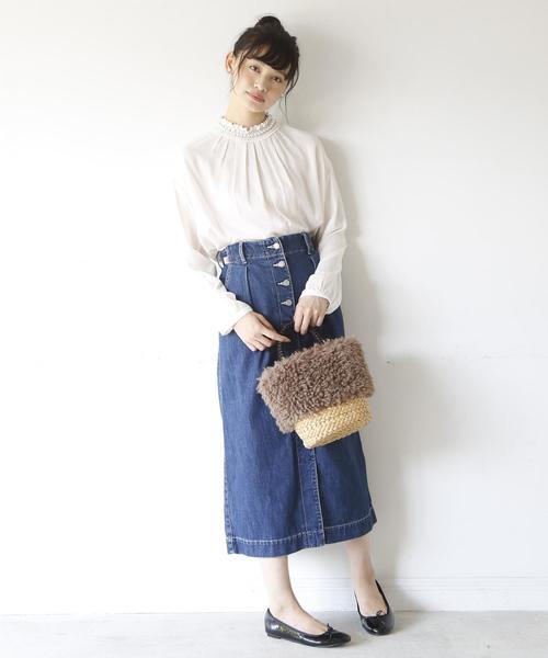 [coen] USAコットンデニムロングスカート