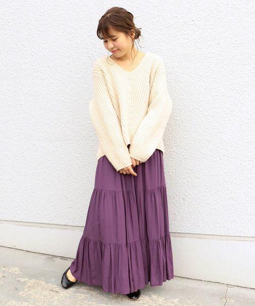 [SHIPS for women] Khaju:リラックスティアードマキシスカート