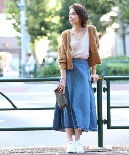 【woad blue】×【ROPE'mademoiselle】マキシデニムスカート