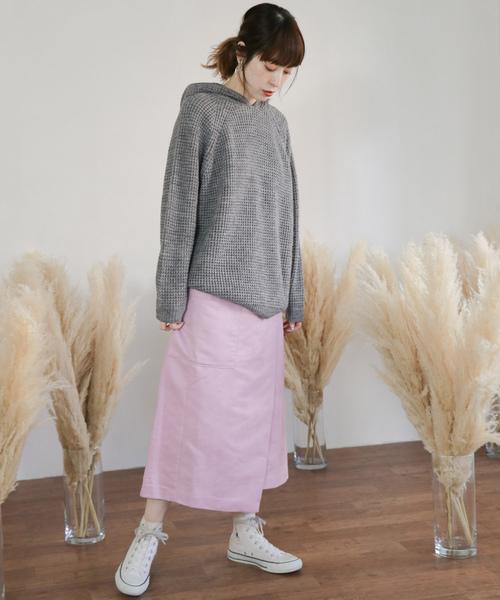 [KBF] カラースエードラップスカート