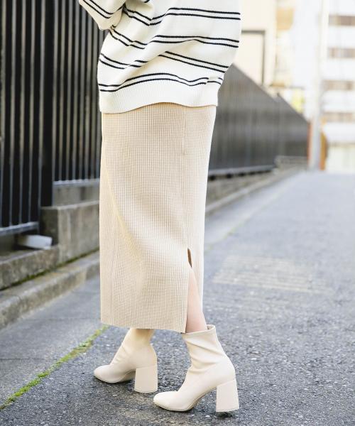 [LOWRYS FARM] ヘンケイワッフルカットスカート