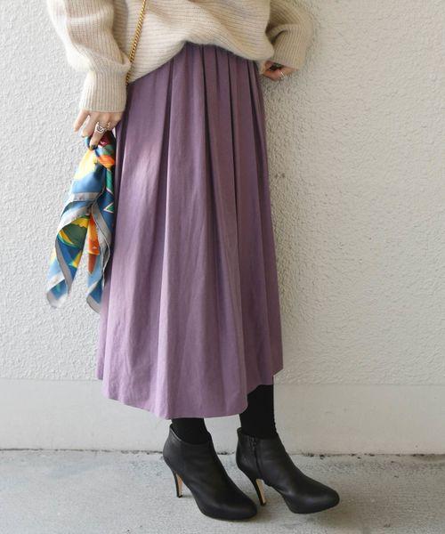 [SHIPS for women] 【手洗い可能】カラーボリュームスカート◇