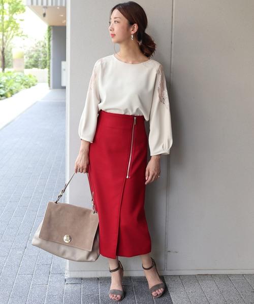 [Spick & Span] PE/RY/W ジップタイトスカート◆3