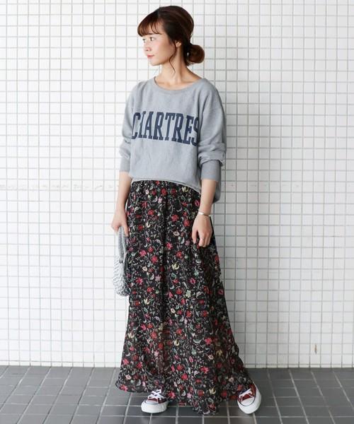 FLOWER PRINT マキシスカート