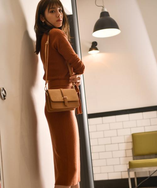 [Andemiu] 【新色追加カラー限定】リブIラインニットワンピース長袖808340