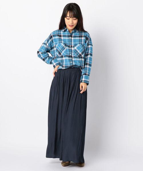 [SHIPS for women] チェックビッグネルシャツ