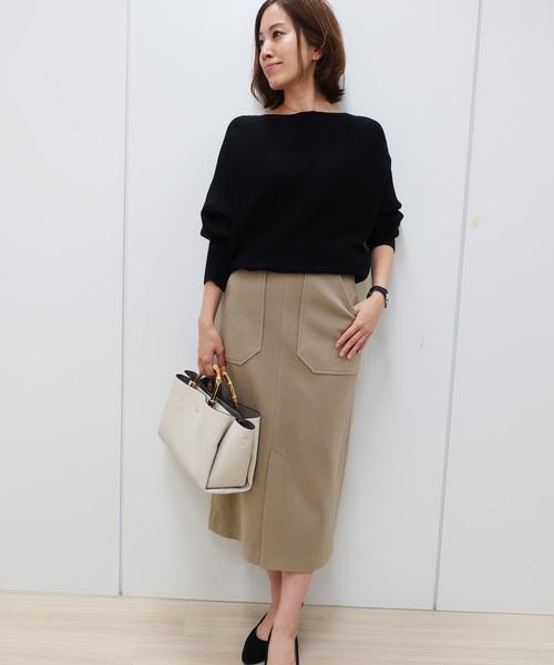[IMAGE COLLECTION] 【WEB限定】ウールタッチタイトスカート