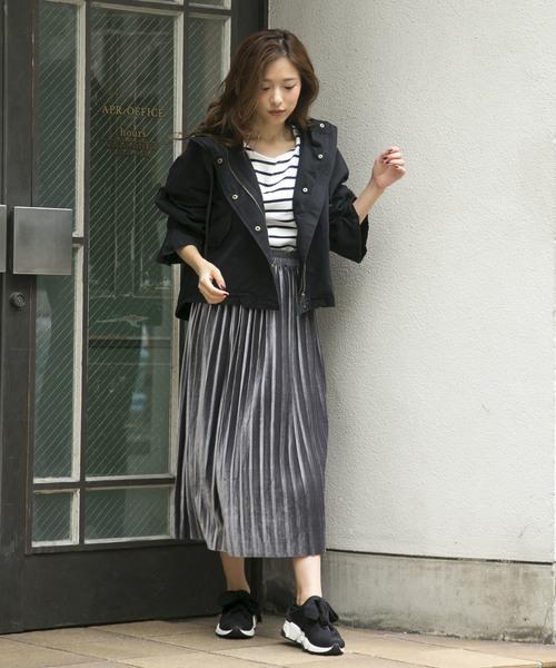 ミモレ丈ベロアプリーツスカート