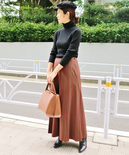 [IENA] ストライプロングセミフレアスカート