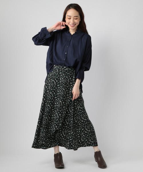 [studio CLIP] 《はまじコラボ》袖フレアスタンドシャツ[WEB限定プラスサイズ]