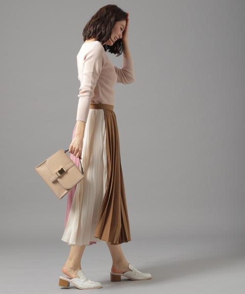 [Andemiu] カラーキリカエプリーツスカート820196 2