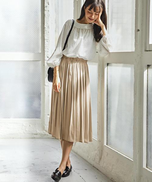 [green label relaxing] NFC サテン ギャザー スカート