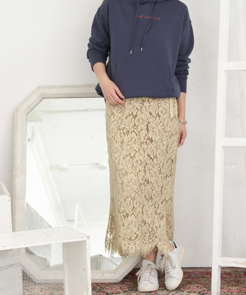 KBF+ 製品染めレースラップスカート