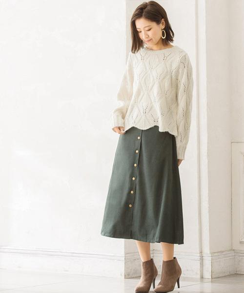 [Pierrot] 透かし編み裾スカラップニット