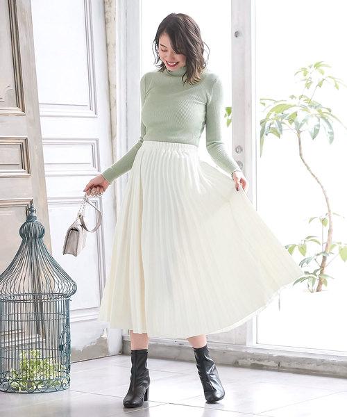 [kobelettuce] フェイクウールミディアム丈フレアプリーツスカート