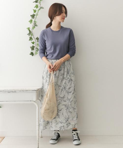 シフォンドットフラワープリントスカート