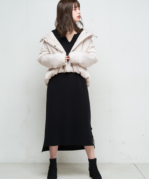 [natural couture] キーネックニットワンピ