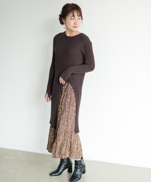 [Auntie Rosa] 【Holiday】スリットリブワンピスカートセット◆Web Store限定◆